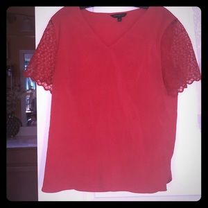 J Crew red lace sleeve top